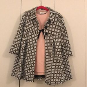 Pink Dress with Black & White Coat